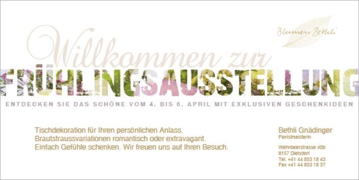 Flyergestaltung - Flyer Design - Blumenbethli 2 - grafik ZUM GLÜCK.CH