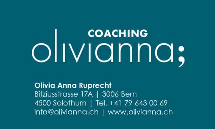 Visitenkarte Corporate Identity olivianna coaching - Grafik Design - grafik ZUM GLÜCK.CH