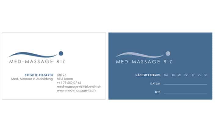 Visitenkarten Design - Med-Massage Riz - Grafik Design - grafik ZUM GLÜCK.CH